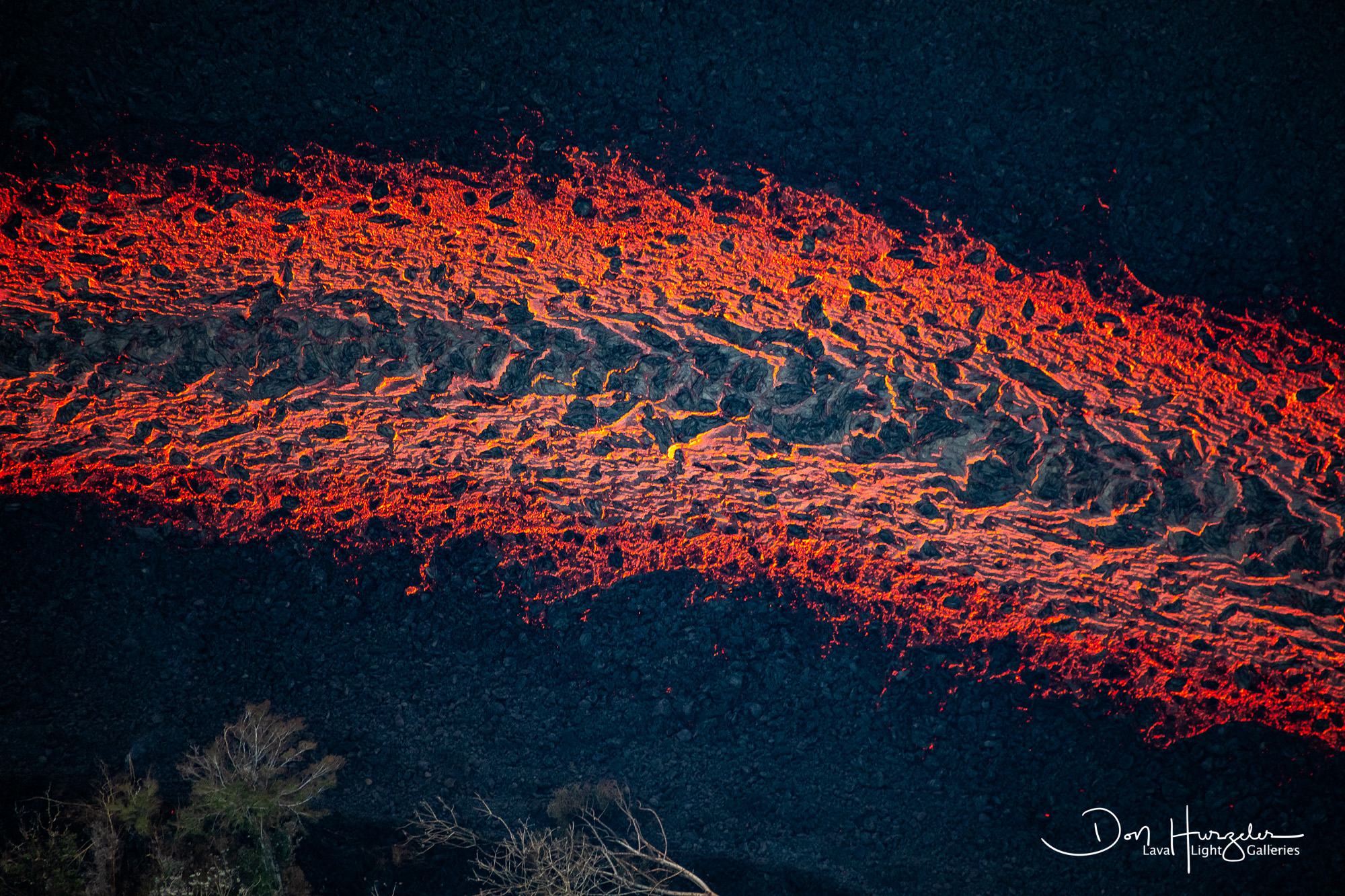 Lava flowing like a river through Puna.