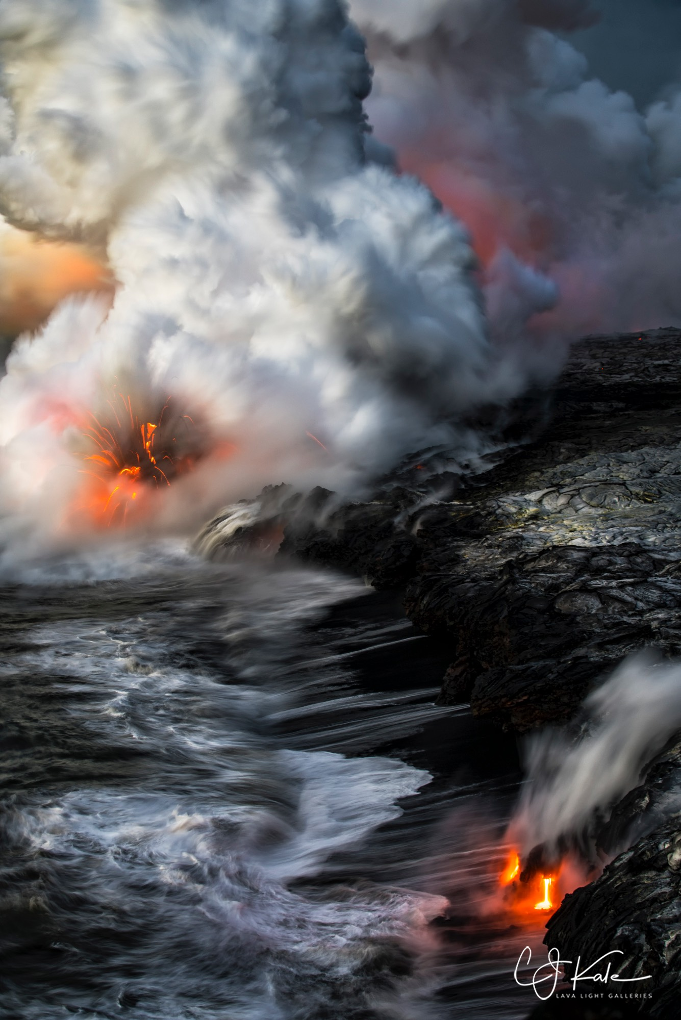 Lots happening when the lava meets the sea.