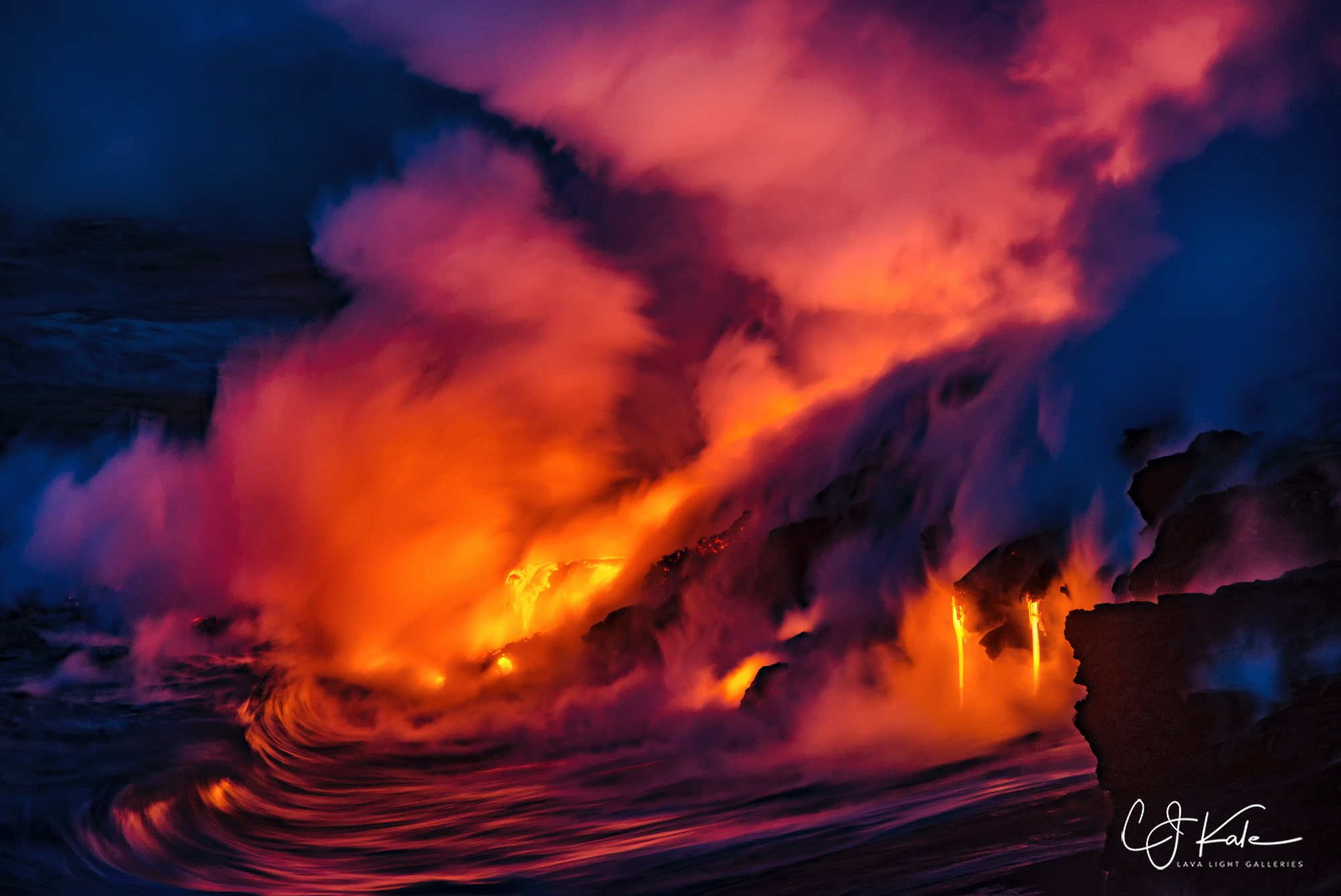 Lava drips and ocean waves.