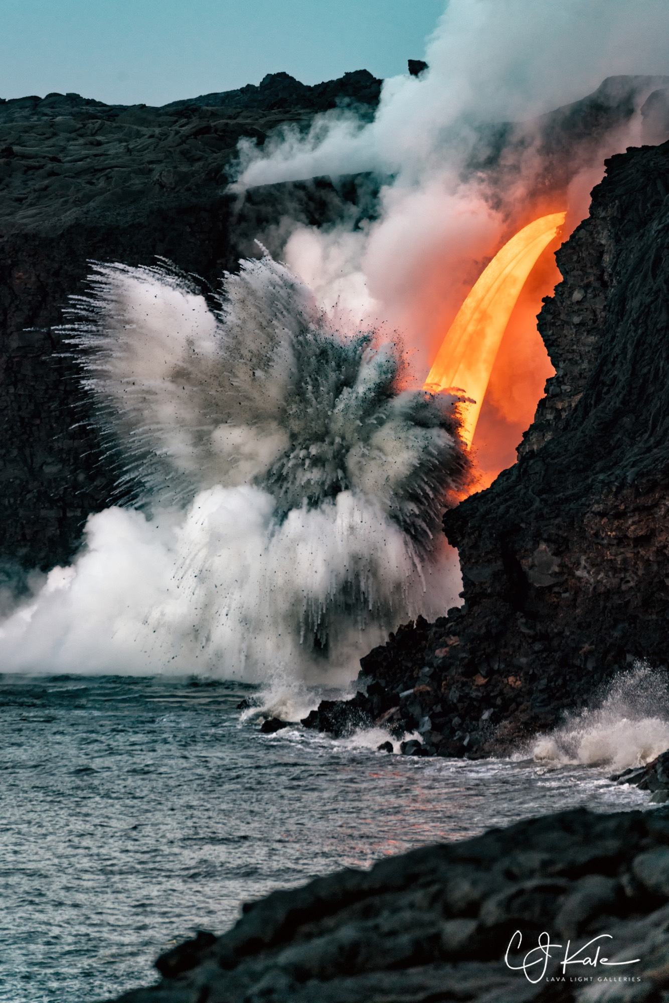 Major explosion as the fire hose hits the ocean.