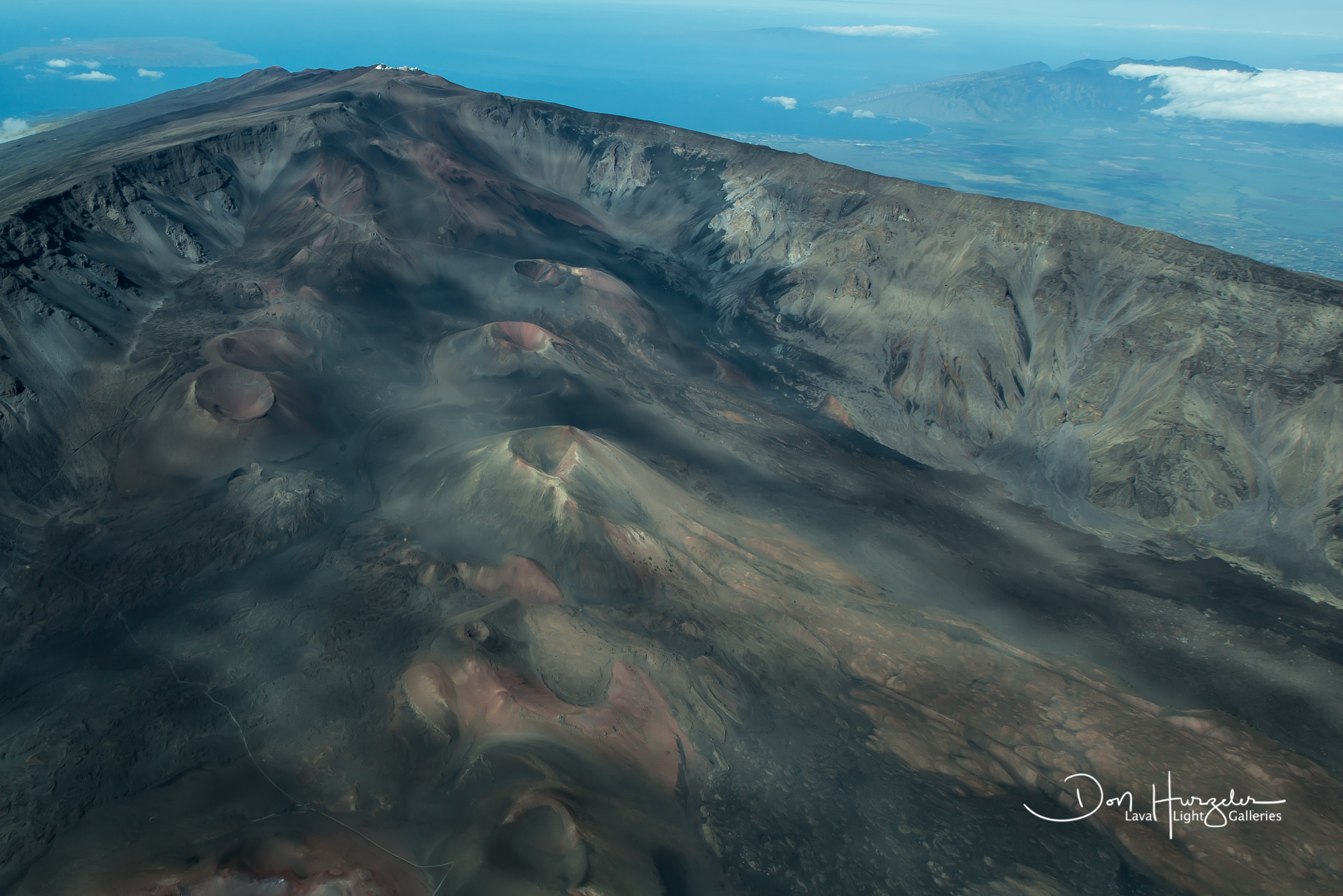 From a plane flying over Haleakala crater.