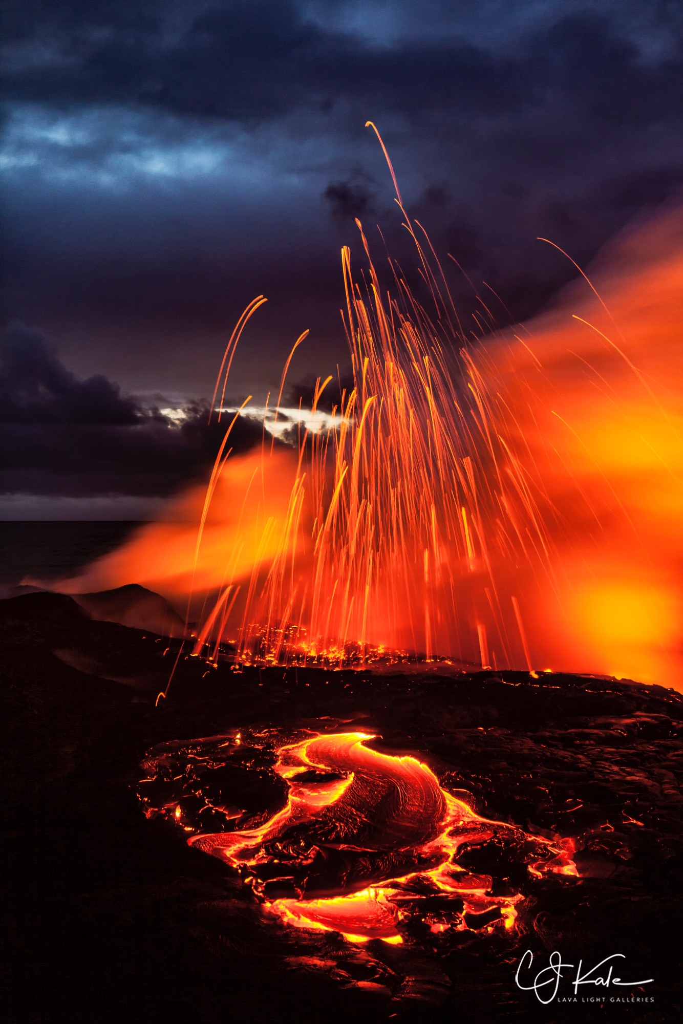 Lava flow and stormy conditions.