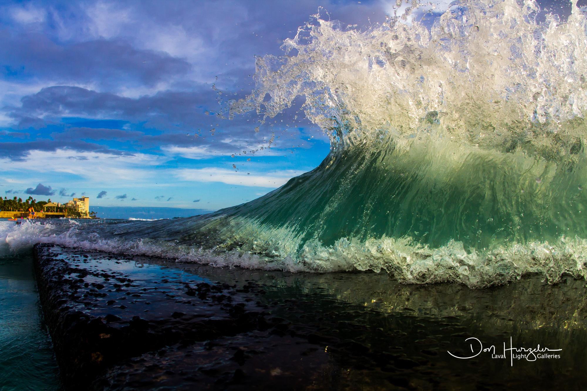 A little breakwater at Waikiki Beach.